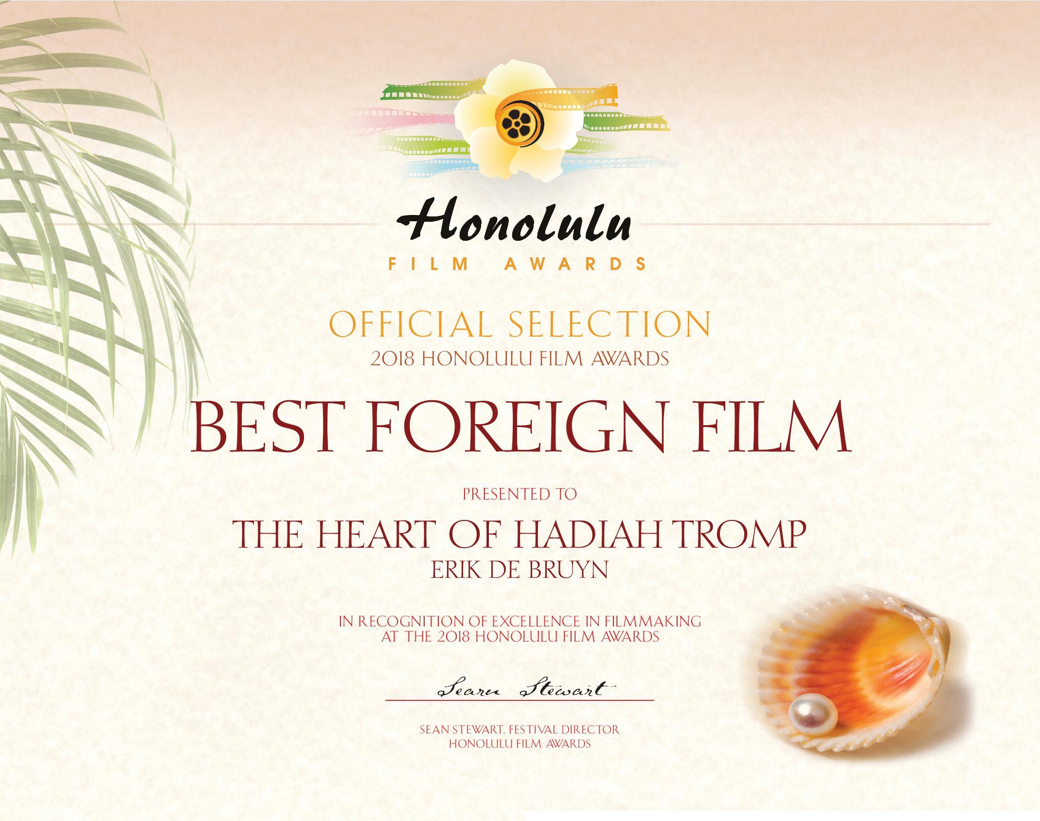 Het Hart van Hadiah Tromp wint Best Foreign Film Award