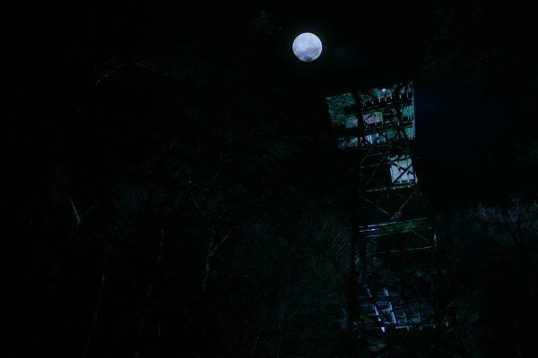 Tokkeltoren bij volle maan